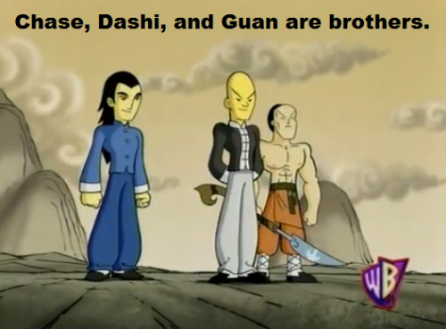Chase, Dashi, and Guan are brothers.   Guan, the oldest, was the most serious brother and held the other two in line.  Dashi was unusually gifted in magic and laid back, preferring dozing to fighting.  Chase was a powerful warrior who dabbled in magic, but still strove to be the best.  After Chase betrayed them, Dashi used his magic to give Guan immortality to help the Xiaolin Dragons in history onward keep Chase at bay.