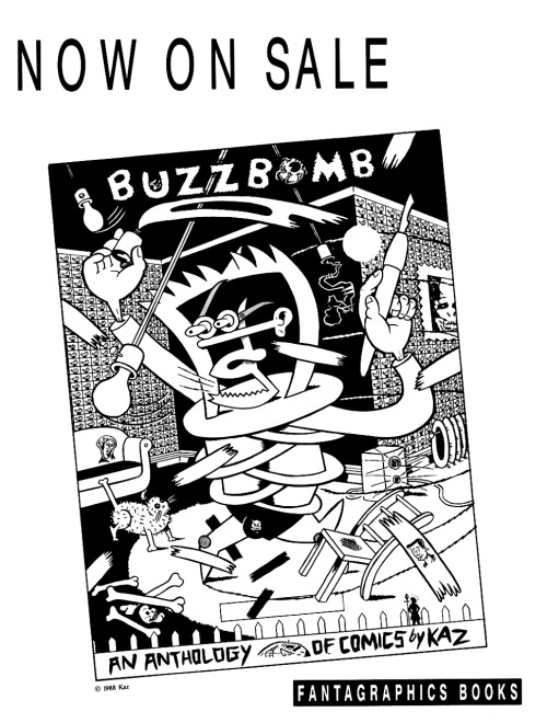 Promotional ad for Buzzbomb by Kaz, 1988.