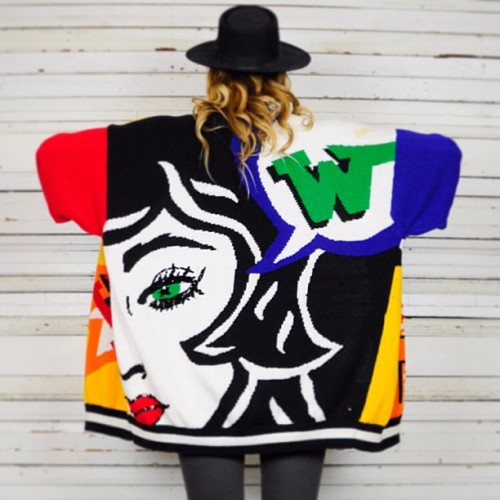 noirohiovtg:  insane pop art Lichtenstein-esque sweater cardi #vintage #instorenow