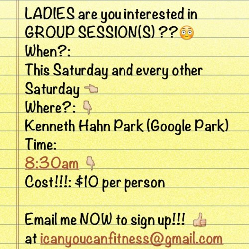 getfitwithnic:  Sign Up for Saturday Group Sessions at Kenneth Hahn Park. There is a $6 Parking Fee on the Weekends. Drive all the way to the top of the hill. Meet by the Workout Equipment. Sign up Now!! I hope to see all of you, Bring Water and your Yoga Mats.  Why Can't You Live In Florida Near Me? = (