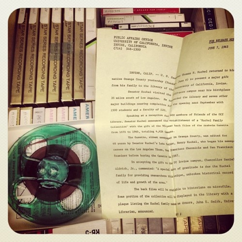Whoa! A green audio-reel from 1965! (UCI Archives)