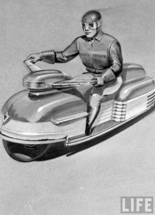 electronicsquid:  Motorcycle of the future at industrial design show (Wallace Kirkland. 1944)