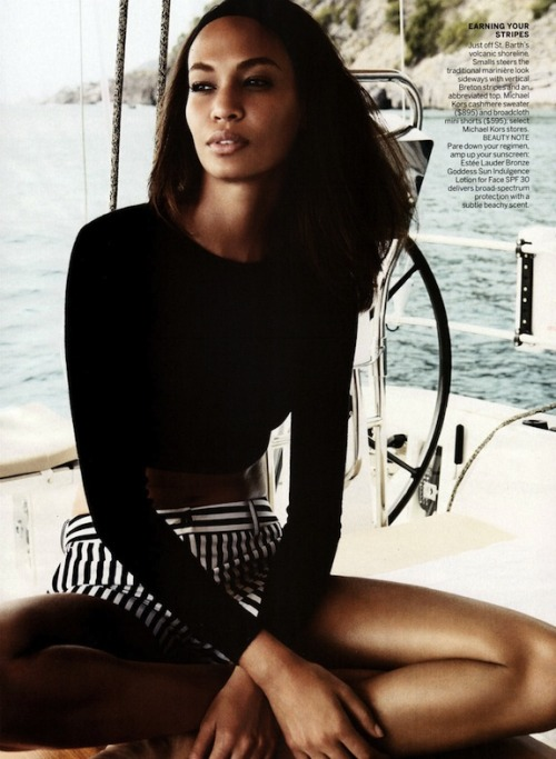 "blackfashion:  Joan Smalls in ""Smooth Sailing"" photographed by Patrick Demarchelier for Vogue US April 2013. Styling by Tonne Goodman."