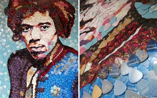 guitarslob:  Jimi Hendrix made with about 4000 guitar picks.