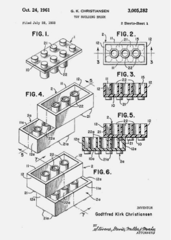 thekhooll:  Patent Original patent for the LEGO brick.