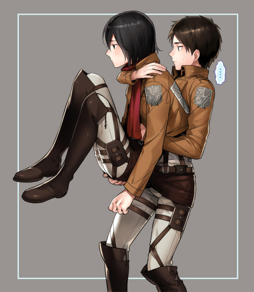 nightgales:   by sine  so. is eren carrying mikasa or is mikasa carrying eren look at it for a good, long time