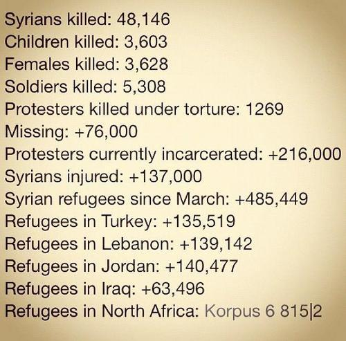 09/12/12 #Syrian statistics to help put things in perspective. Each one of these numbers had a life, story, and a soul.