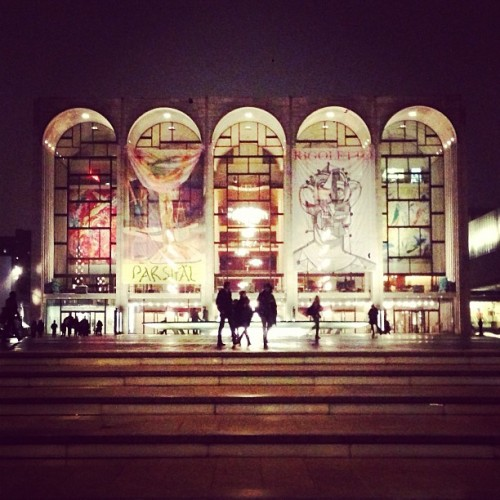 Lincoln Center at night. (via @longlivecool) #nyfw #mbfw
