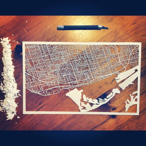lightpapershop:  Toronto streets (with islands) complete! #toronto #torontoisland #map #papercutting #paperart #papercraft #etsy #etsyshop #handmade  A beautiful and intricate map of Toronto.