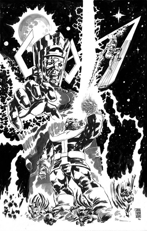 "comicbookartwork:  Galactus & Silver Surfer Battle Thanos By Jun Bob Kim  I love how Thanos is all YES I AM AWESOME FEAR MY INFINITY GAUNTLET BLING, and meanwhile Galactus is just like ""…snacktiem."""