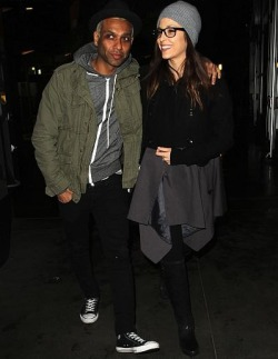 justnodoubt:  Tony Kanal and Erin Lokitz enjoy a night out at the movies, 19th February 2013.