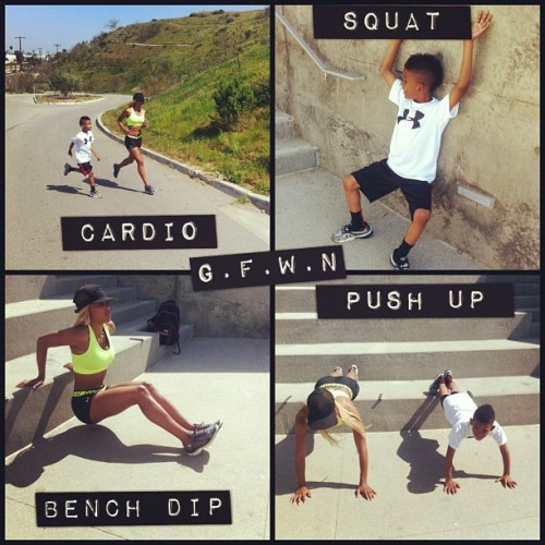 getfitwithnic:  Mommy and Son Workouts! Parents don't use your Children as an Excuse to why you can not get Fit and live an Healthy, Active lifestyle. Team Work makes the Dream Work. Lead by Example! #TeamFitness #UnderArmour #FitKid #FitMom #CantStop #WontStop #WeDidThat