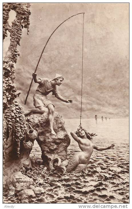 """ Miraculous Catch — A Mermaid ""  …  Vintage Postcard 'La Sculptobromure' [No Date] Signed: Mastroianni"