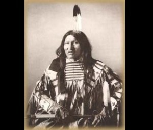Matȟó Wanáȟtake – Oglala Lakota Kicking Bear (March 18, 1846–May 28, 1904), also called Matȟó Wanáȟtake, was an Oglala Lakota who became a band chief of the Miniconjou Lakota Sioux. He fought in several battles with his brother, Flying Hawk and first cousin, Crazy Horse during the War for the Black Hills, including Battle of the Greasy Grass. Also a holy man, he was active in the Ghost Dance religious movement of 1890, and had traveled with fellow Lakota Short Bull to visit the movement's leader, Wovoka (a Paiute holy man living in Nevada). The three Lakota men were instrumental in bringing the movement to their people who were living on reservations in South Dakota. Following the murder of Sitting Bull, Kicking Bear and Short Bull were imprisoned at Fort Sheridan, Illinois. Upon their release in 1891, both men joined Buffalo Bill Cody's Wild West Show, and toured with the show in Europe.