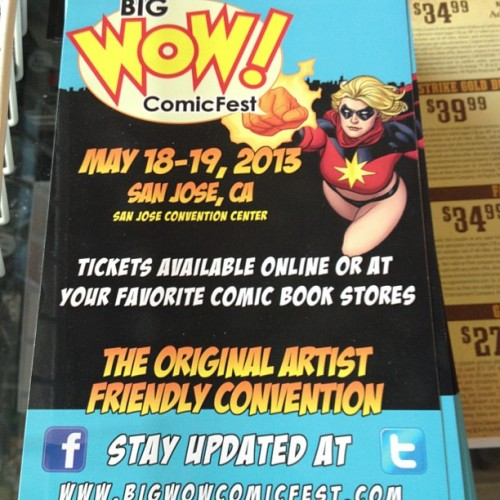 Big Wow Tickets on sale at #cfa starting today. Adult 2 day passes are $25, 1 day adult are $15, 2 day children (8-15) $12 and 1 day children are $8. So come on by and pick up your tickets to the only #comic show in the Bay Area this year. #bigwow #comicshop #comicstore #bestcomicstoreever (at Comic & Figure Addicts)