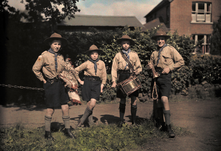 Portrait of boy scouts at Abinger Hammer on a Sunday hike in Surrey, England, February 1932.Photograph by Clifton R. Adams, National Geographic
