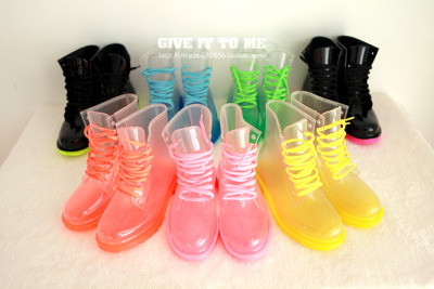pastelbmob:  Colorful Transparent Rain Boots $24.65