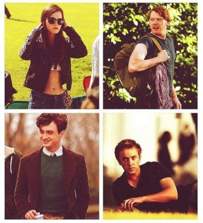 mytopsy-turvylife:  golden trio + malfoy = absolute love I miss harry potter already. </3