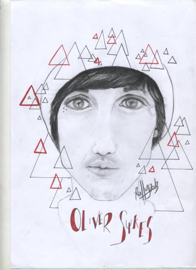 Oliver Sykes- Portrait- Pencil and ink (black), sharpie (red).