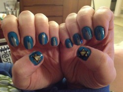 Chanukah nails. Been a while since I did any goofy nail art. It is true, Bennett's have fat hands.