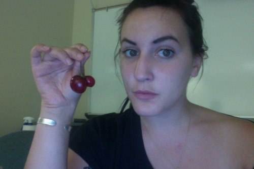this is what i look like during finals week. with a mutant cherry.