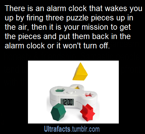 "vancity604778kid:artificial-admin:ultrafacts:Source See more facts HEREmY CHILDHOOD FEAR WAS A GAME LIKE THISThere is also one called ""Clocky"", an alarm clock that runs away and hides if you don't get out of bed on time. When the alarm sounds you can snooze one time. If you still don't wake up, Clocky will jump off of the bedside table, and wheel away, mindlessly bumping into objects until he finds a spot to rest. You'll have to get up and out of bed to silence his alarm. Clocky will find new spots everyday, kind of like a hide-and-seek game."