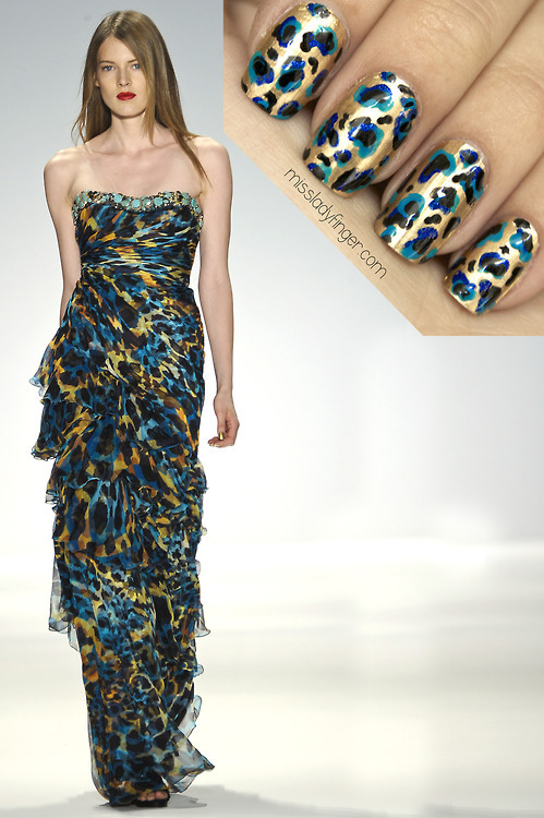 MANICURE MUSE: Carlos Miele Spring '13 Take a walk on the wild side this Holiday season with this metallic animal printed Ladyfinger… learn how to get them here.