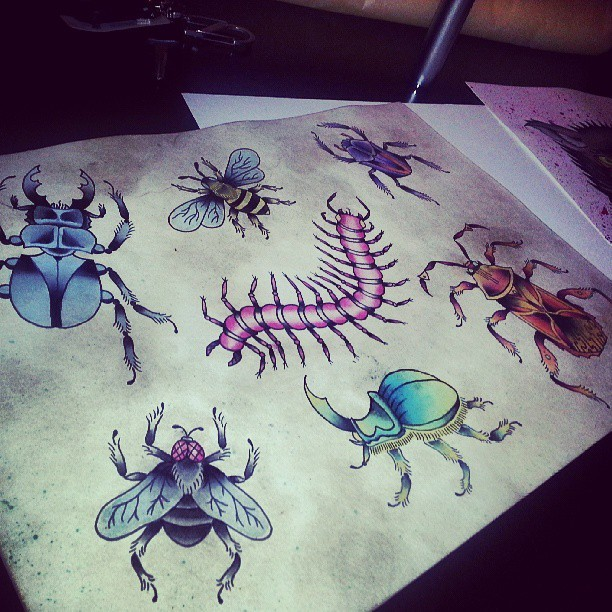 Buggin out. #tattoo #flash #tattoos #tattooed #beetle #bug #bee #fly #art #artist #watercolor #austin #texas #tx #atx