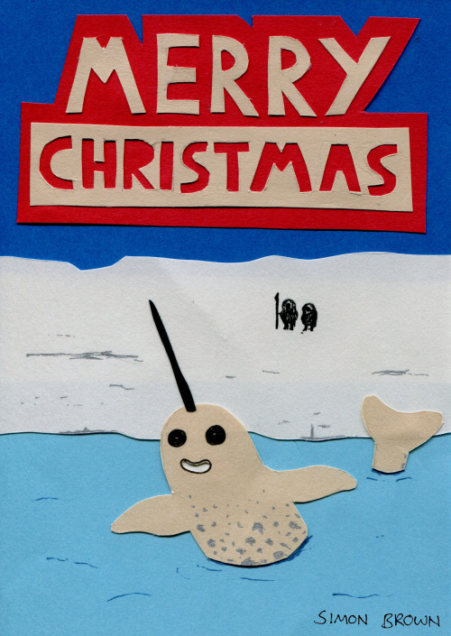 Merry Christmas from me and this goofy Narwhal. Inspired by Kate Beaton's goofy Moby Dick