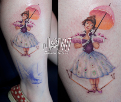 Work in progress of the Haunted Mansions Tight Rope Walker, done by Jessica A. White or JAW Tattoos in Sacramento, CA Can't wait to get the finished one up!