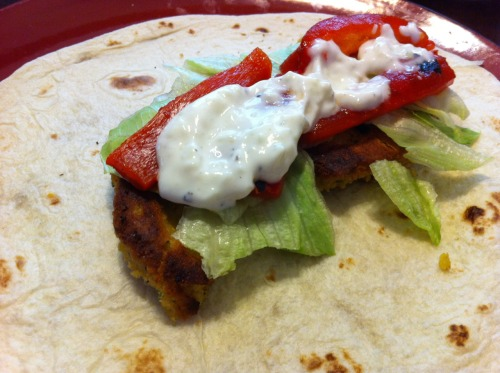 falafel with roasted red peppers, lettuce, & tzatziki.   this is my first go at this dish and it turned out pretty well.  the falafel patties were a little crumbly - perhaps another egg and less breadcrumb next time - but the flavor was great.  and my tzatziki is a work of art.