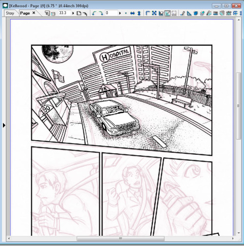 "Screenshot of page 19 this morning. That top panel took me all day to ink and well into the night. I think it turned out pretty good, but I'm sure I could do a shot like that better next time since I learned a lot inking it (like how off my pencils were).  Speaking of off pencils you can see my pencils in the lower panels, the inks will look little like that when the page is done since I'll be fixing a lot of stuff that has issues. I'm thinking of doing a Day stream again today, so I'll post an update on here if I do one of those later if anyone wants to tune in. You could go ahead and bookmark my streaming page:  http://www.livestream.com/neilasartinspace?t=257213 I'll probably stream after my ""Mandatory Game Break"" which will be right after lunch."