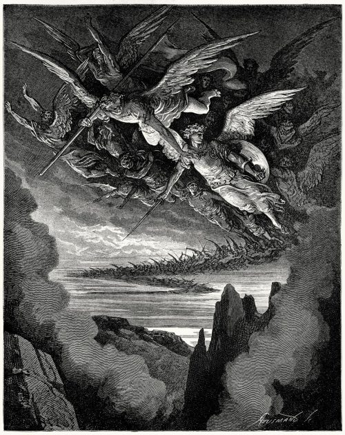 oldbookillustrations:  So numberless were those bad angels seen, Hovering on wing, under the cope of Hell.  Gustave Doré, from Milton's Paradise Lost, New York, 186?.  (Source: archive.org)