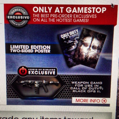 Woah, there GameStop, a poster and a skin for an in-game gun to use in an old video game?! I wasn't going to pre-order Call of Duty: Ghosts before, but NOW!