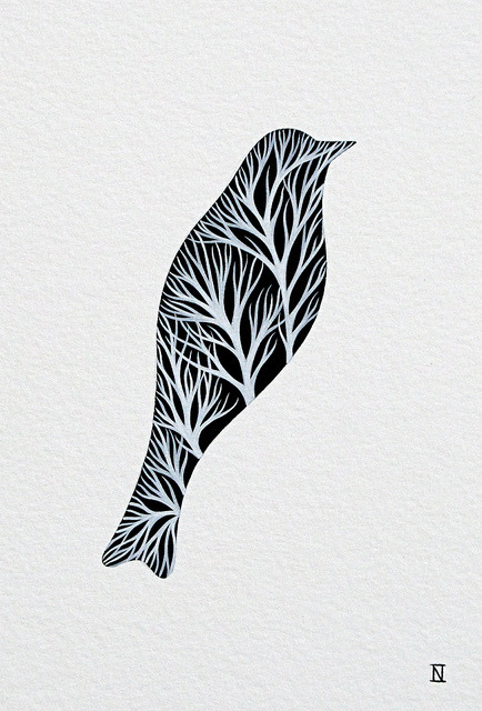 Silhouette of a Bird With Branches 5 (A Bird A Day: 19) by natasha newton | the blackbird sings on Flickr.
