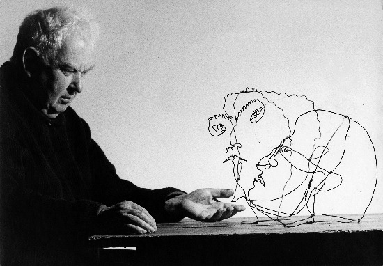 A 1963 photograph by Ugo Mulas showing the artist Alexander Calder with his works 'Edgar Varese' & 'Untitled,' Sache, France
