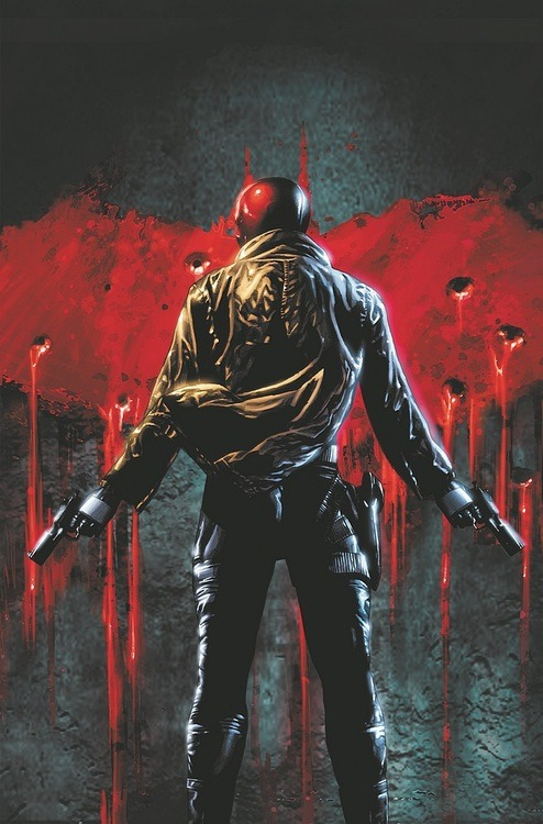trevoredwards:   Red Hood and The Outlaws#18 by Mico Suayan  This cover is brilliant.
