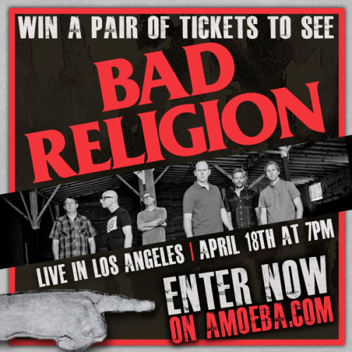 Win a pair of tickets to see Bad Religion live at the Hollywood Palladium on April 18! Enter on Amoeba.com here.