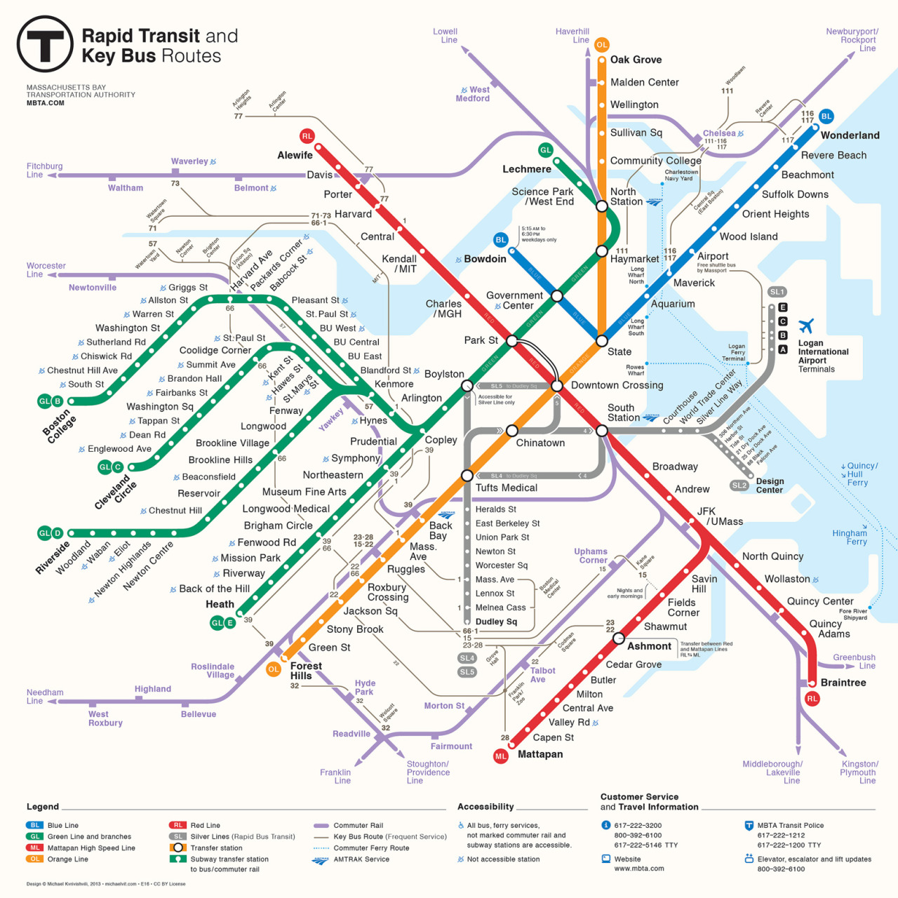"Unofficial Map: MBTA Map Contest Entry by Michael Kvrivishvili Here's another entry for the MBTA's map contest, sent to me by Michael Kvrivishvili, a graphic and interactive designer from Moscow. Michael has chosen to show all of the services on his map that the MBTA does on their map — subway, BRT, commuter rail, key bus routes and ferries. He pulls it off pretty well, too, although the convoluted network of bus routes is always going to look a little busy. Like Kerim, Michael's map features a perfect diamond representing the downtown interchange stations, and he also manages to fit in all the Green Line stations.If it wasn't for the little flip in the Red Line to Braintree, he'd also have a perfectly straight diagonal line across the map! Despite these similarities, the two maps are really quite different. Much like the current Washington DC map, Michael has added badges to the end of each line that denotes that line's name —  ""OL"" for Orange Line, and so on — an excellent aid for color-blind users of the system. He also adds the full name of the line in very small text within each line, which seems redundant and is also far too small to be of any real use. For the most part, Michael's handling of the commuter rail lines is well done: they're obviously lower in the information hierarchy than the main subway lines, but still look attractive. Again, the ends of the commuter rail lines feature some lovely and unusual arrowheads — I love this sort of attention to detail. The one place the map is not as clear as it could be is at Readville station. The Fairmount Line terminates at this station, while trains on the Franklin Line stop, but trains on the Stoughton/Providence Line pass through without stopping. On Michael's map. the Franklin Line looks like a continuation of the Fairmount Line (which isn't named on the map), and there's no visual indication that Stoughton/Providence trains don't stop here. There's more usability problems with the Silver Line at Logan Airport. Michael shows all the stops, but he doesn't show how the route loops around. From the information shown on the map, a reader might expect that once the bus reaches the end of the line at Terminal E, it reverses back along the line, stopping at the other terminals again along the way. A similar problem is evident with the end of the SL2 line at Design Center (also a loop in real life). Interestingly, Michael has chosen to show non-accessible stations on the map, rather than accessible ones. This actually works quite well at cleaning up the central part of the map, where there are more accessible stations than non-accessible ones. A few other thoughts: the legend at the bottom of the map is beautifully laid out; the subway to bus/commuter rail symbol is subtle but effective; and the bus routes are generally pretty well done. Also, the Silver Line makes a big capital ""B"" in the middle of the map! Our rating: Really quite good. The few shortcomings are probably due to Michael's unfamiliarity with the system and look like they could be easily fixed. Three-and-a-half stars.  (Source: Email from Michael, also on Flickr)"
