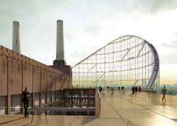The Architectural Ride at Battersea Power Station by Atelier Zündel Cristea via Dezeen London's Battersea Power Station is transformed into a museum of architecture and encased inside a giant roller coaster in these competition-winning proposals by French studio Atelier Zündel Cristea. The conceptual plans were awarded first prize in the international competition coordinated by ArchTriumph, which invited applicants to suggest how the crumbling brick landmark could be used as an exhibition centre dedicated to architecture.