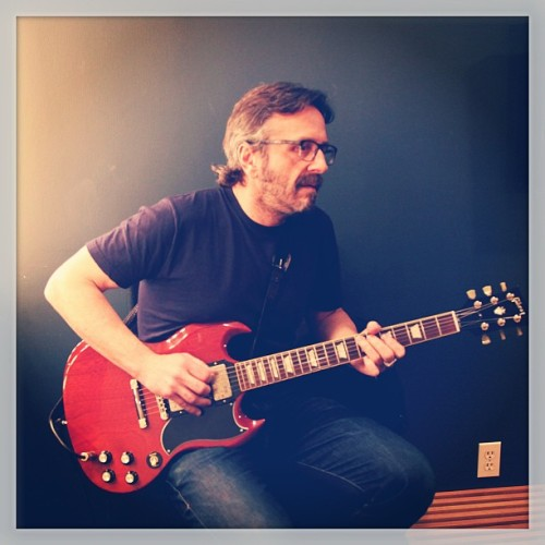 teamcoco:  #MarcMaron playing guitar in his dressing room. #conan (at Warner Bros Stage 15)