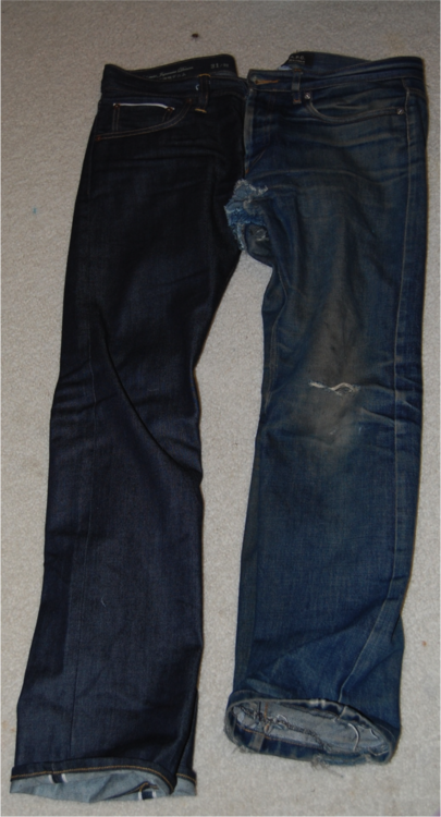 worn raw denim