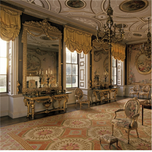 a-l-ancien-regime:  Newby Hall The drawing room  Yorkshire  England Designed by Sir Christopher Wren, interiors by  Robert Adam  furniture by Chippendale  , Gobelins tapestries and classical statuary. Photo: Julian Nieman   I might have reblogged/queued this already. If so, I apologise.