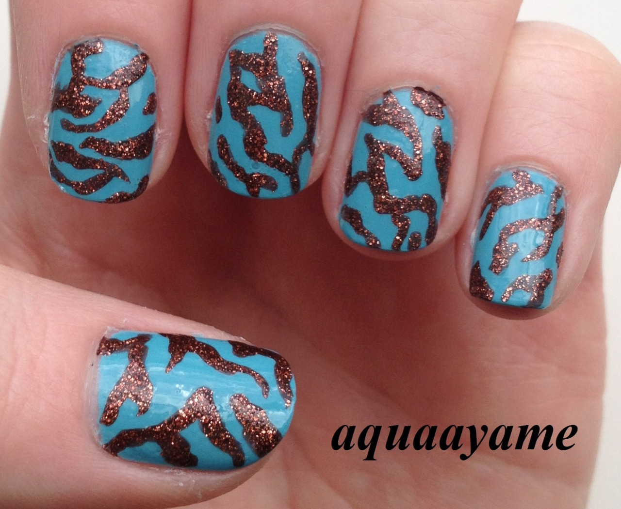 Blue and Copper Nail Art