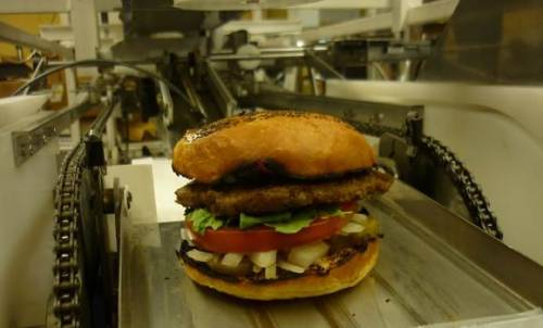 "Robot Serves Up 360 Hamburgers Per Hour No longer will they say, ""He's going to end up flipping burgers."" Because now, robots are taking even these ignobly esteemed jobs. Alpha machine from Momentum Machines cooks up a tasty burger with all the fixins. And it does it with such quality and efficiency it'll produce ""gourmet quality burgers at fast food prices."" Find this article interesting? Be sure to subscribe for more wowing stories!"
