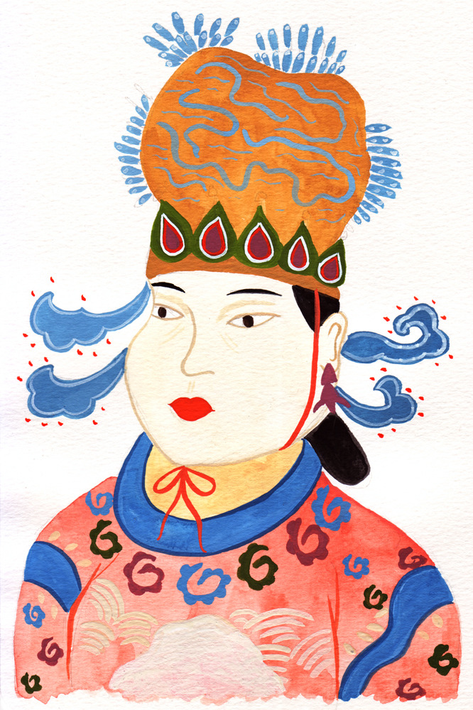 A drawing of Empress Wu Zetian, the only woman ever in China to found her own dynasty. She was a cruel and power hungry lady, but apparently a good leader.