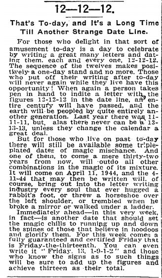 The New York Times on 12-12-12, in 1912. Enjoy the day.