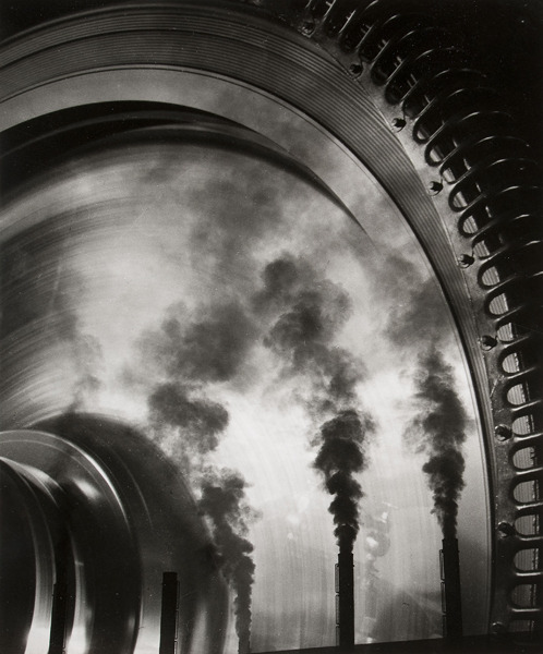 "William Rittase 1892-1968 Smokestacks Reflected in Turbine, undated Gelatin silver print,  9 5/8"" x 7 ¾"" via"