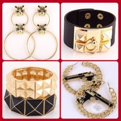 www.LilXurious.com Use coupon code #GLAM for 20% Off. #blackandgold #lilxurious #bangles #bracelets #hoops #trends #accessories #earrings #fashion
