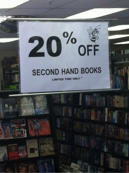 We are having a sale.  20% off all second hand books.  Be in quick, finishes on 10th February.